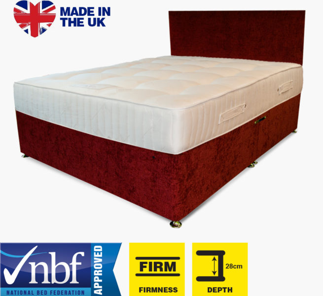 Buy Cheap Beds Online Legato Pocket 1000 Ortho Firm Divan Chenille red - 2015-07-16 18:19:56