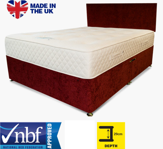 Buy Cheap Beds Online Tencel Pocket 1000 Medium Divan Chenille Red - 2015-07-31 14:03:27
